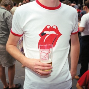 A visitor to the Great British Beer Festival at London's Olympia. August 2001